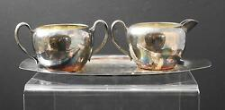 Vintage Trent Silver On Copper Creamer Sugar And Tray 10 B1