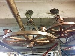 Vintage Wooden Rancho Style Wagon Wheel Chandeliers Horseshoe And Copper Detail