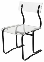 33 H Set Of Two Dining Chair Black Metal Frame Clear Acrylic Seat And Back Modern