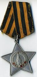 Soviet Star Red Medal Order Of Glory 2 Class Banner Silver Original 1415