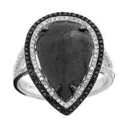 5.25ct Rose Cut Pear Black Diamond Center Double Halo Split Shank Cocktail Ring