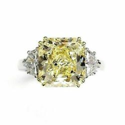 Blissful 5.82 Carats t.w. Diamond Wedding Ring 5.07 Carats Fancy Yellow GIA VVS2