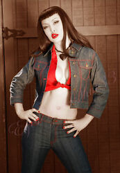Blue Denim Rockabilly Cropped Jean Jacket With Pinup Red Lining Lip Service