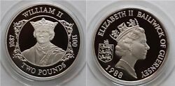 1988 Guernsey Large Silver Proof 2 Pound-william Ii-english King- Mintage 2500