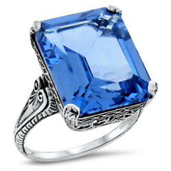 Antique Style 12 Ct Sim London Blue Topaz 925 Sterling Silver Ring Size 10 963