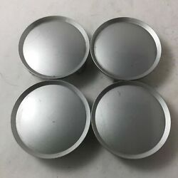 Set 4 Silver Aftermarket Center Caps 2-15/16 3 Prong Rounded With Lip On Edge