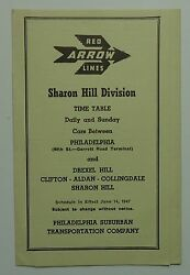 Red Arrow Lines 1947 Public Timetable - Sharon Hill Division