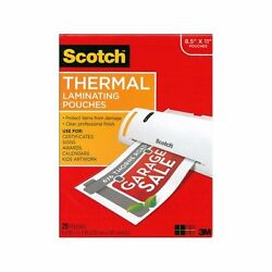 Scotch Letter-size Thermal Laminating Pouches, 3mm, 11.5 W
