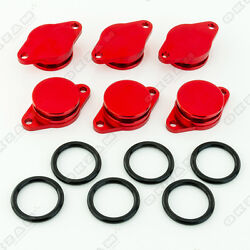 6x 32mm RED ALUMINIUM SWIRL FLAP REPLACEMENT + O-RING FOR BMW 3 SERIES NEW