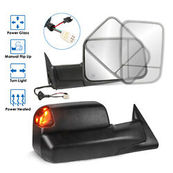 Tow Mirrors Side View Power Heated W/ Led Signal Lights For 1998-2002 Dodge Ram