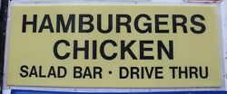 Vtg Hamburgers Chicken Salad Bar Drive Thru Polycarbonate Diner Sign 36 X 89