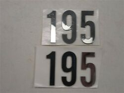 Number 195 Raised Decal Pair 2 Mirrored Silver 2 1/2 X 1 3/4 Marine Boat