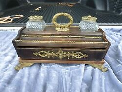 19th C French Empire Wood Inkwell Desk Organizer With Drawer And Bronze Mounts
