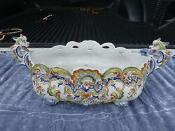 Fabulous 19th C Italian Majolica Bowl With Dragon Handles Marked With An Ff