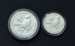 1996 Israel Holyland Wildlife Silver Coins-nightingale And Fig