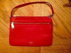 AUTHENTIC multi-function Genuine Leather FOSSIL wristlet  (Red) Purseshandbags