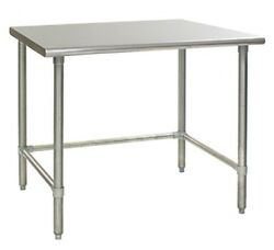 96 X 36 Stainless Steel Open Base Wide Work Table With Cross Bar Prep Table