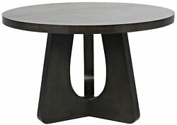 48 Round Dining Table Solid Mahogany Wood Pale Black Finish Handmade Modern