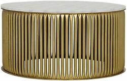 36 Round Coffee Table Metal Base Antique Brass Finish White Stone Top Rustic