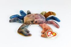 Ty Beanie Baby Claude The Crab, Rare, With Many Errors And P.v.c. Pellets, 1996