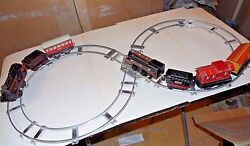Two Antique Construction Train Set Tin Litho Wind Up Gw Germany Us Zone