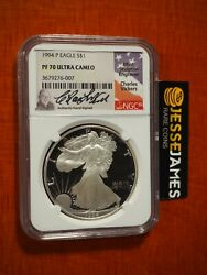 1994 P Proof Silver Eagle Ngc Pf70 Ultra Cameo Charles Vickers Signed Low Pop 3