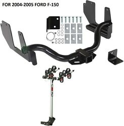 2004-2005 Ford F-150 Trailer Hitch + Complete Rola 3-bike Rack Carrier Package