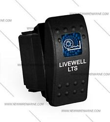 Labeled Marine Contura Ii Rocker Switch Carling, Lighted- Livewell Lts-blue Lens