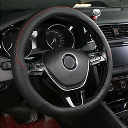 Pu Leather Car Steering Wheel Cover Good Grip Car Accessories For 15 37-38cm