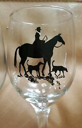 Fox Hunt Side Saddle Horse And Hounds Hand Painted Wine Glasses. Set Of 4