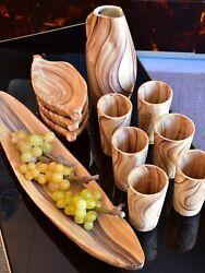 Set Of Vintage Wood Grain Vallauris Ceramic Cups, Pitcher And Bowls