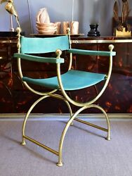Pair Of Vintage French Curule Armchairs