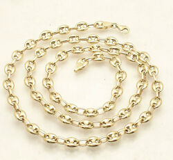6.5mm Puffed Mariner Anchor Link Chain Necklace Real 14k Yellow Gold