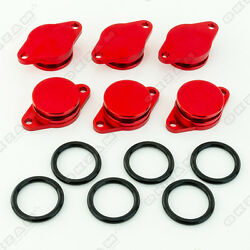 6x 32mm RED ALUMINIUM SWIRL FLAP REPLACEMENT + O-RING FOR BMW 6 SERIES 7 series