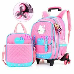 Girl's Cute Trolley School Bag Backpack with 26 Wheels for Children Wheeled Bag