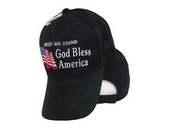 American USA United We Stand God Bless America Embroidered Black Cap Hat C1018