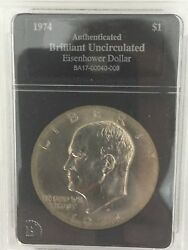 Rare-1974 Eisenhower Silver Dollar-authenticated And Brilliant Uncirculated