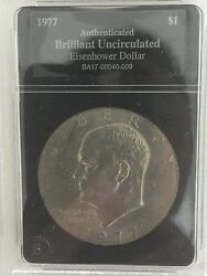 Rare-1977 Eisenhower Silver Dollar-authenticated And Brilliant Uncirculated