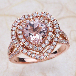 2.80ctw Heart Shape Pink Morganite Halo Engagement Ring In 14k Rose Gold