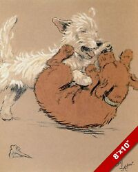 PLAY FIGHTING PET PUPPY DOG ANIMAL ART CECIL ALDIN PAINTING PRINT ON REAL CANVAS