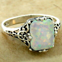 925 Sterling Silver Victorian Antique Filigree Style Lab Opal Ring  1022