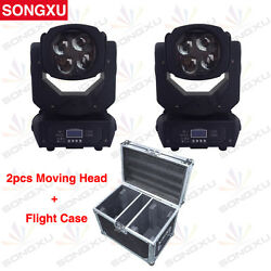 SONGXU 4x25W RGB Colorful 15CH 130W LED Super Beam Moving Head 2pcs in Road Case