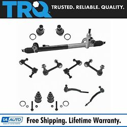 TRQ 11 pc Steering & Suspension Kit Rack & Pinion Assembly End Links Ball Joints