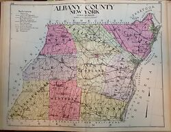 1912 Albany County New Century Copy Atlas Map Counties Of The State Of New York