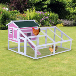 70'' Wooden Chicken Coop Backyard Run and Nesting Box Hen House Poultry Pet pink