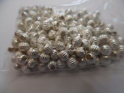 Ac03 Lot 25 Pieces Sterling Silver 925 Textured 4mm Round Beads Jewelry Making