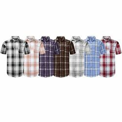 New Men Button Up Shirt Big And Tall L-8xl Striped Plaid Short Sleeve 12 Colors