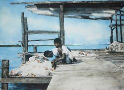 Stephen Scott Young-fl Realist-signed Wc Remarque And Lim.ed Print-bahamas/fishing