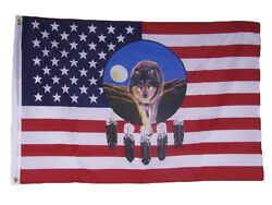 2x3 Usa American Dreamcatcher Wolf Indian Native American Flag 2and039x3and039 Banner