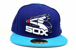 Chicago White Sox Dark Royal Process Blue 3D Logo MLB New Era 59Fifty Fitted Hat